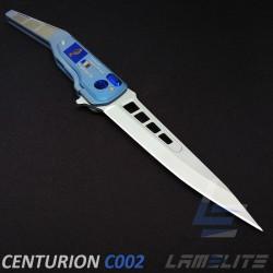 couteau d'art pliant de luxe en titane anodisé GENDARMERIE lame de 116mm fabriquer en France