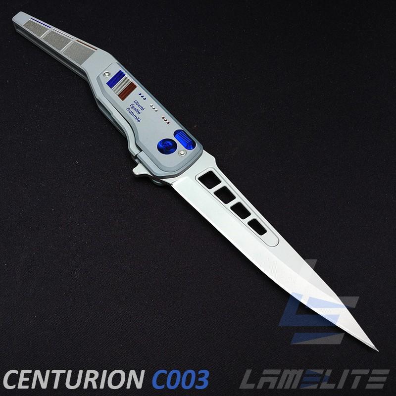 couteau d'art pliant de luxe en titane anodisé lame de 116mm fabriquer en France