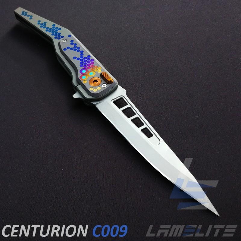 couteau d'art pliant roulement a billes céramique lamelite. couteaux de collection
